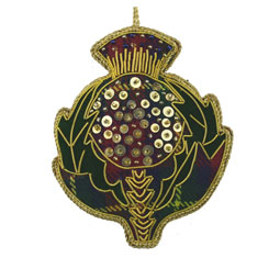 Beaded Thistle Ornament on Tartan Fabric