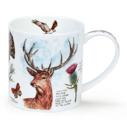 Scottish Notebook Mug with Stag, Puffin and Capercaillie