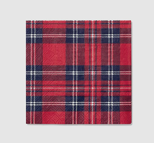 "Tartan Cocktail Napkins package of 25- 5"" square, 2 ply"