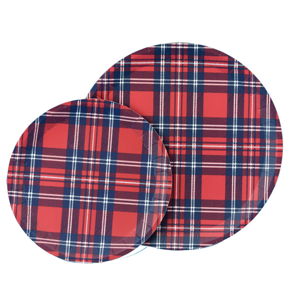 "Tartan Large round plates - package of ten 9"" diameter"
