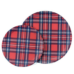 SALE Tartan Large Round Plates - package of ten 9