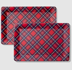 "Tartan Serving Trays - set of two 10"" by 15"""