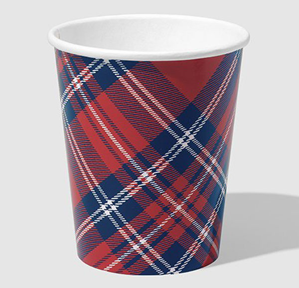 Tartan Paper Cups - set of ten - 9 ounces