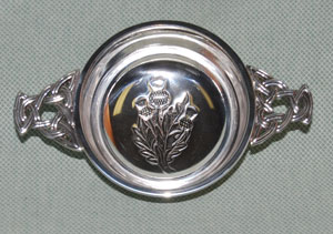 "Thistle 4"" Pewter Quaich with celtic knot handles"