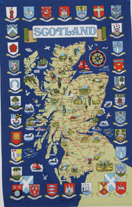 Scottish Town Map & Crest Teatowel