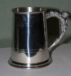 Thistle Handle Pewter Tankard