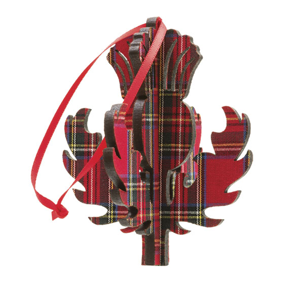 3D Red Tartan Thistle Ornament