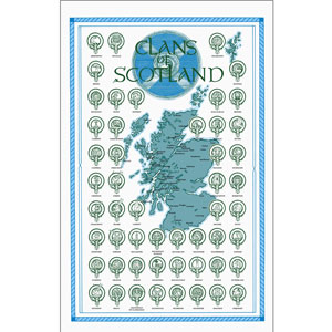 SALE Scottish Clan Crest & Map Teatowel