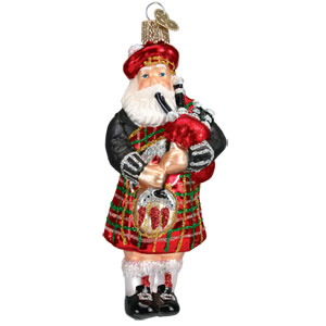 "Highland Santa Ornament 5"" tall"