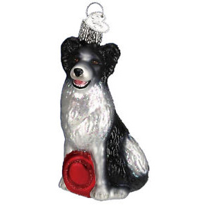 Border Collie Glass Ornament