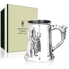 Piper Etched Pewter Tankard