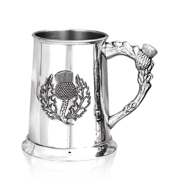 Thistle Etched Pewter Tankard