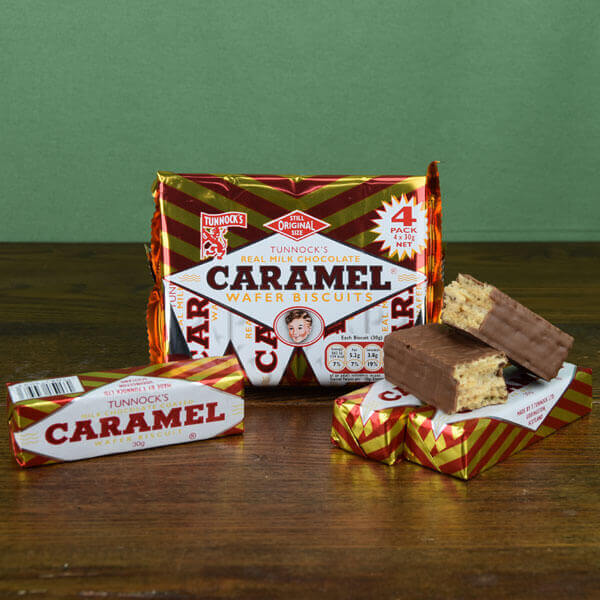 SALE Tunnock's Caramel Wafers - pack of 4 bars Best by 04/03