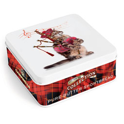 SOLD OUT Cat Piper Square Shortbread Tin from Campbells.