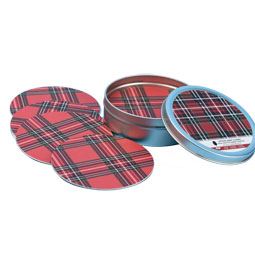 SALE Red Plaid Paper Coasters - set of 12 in storage tin