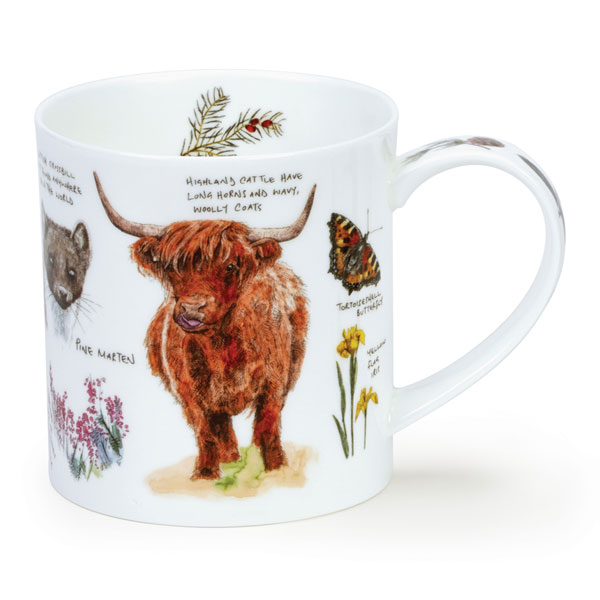 Scottish Notebook Mug with Highland Cow from Dunoon Pottery