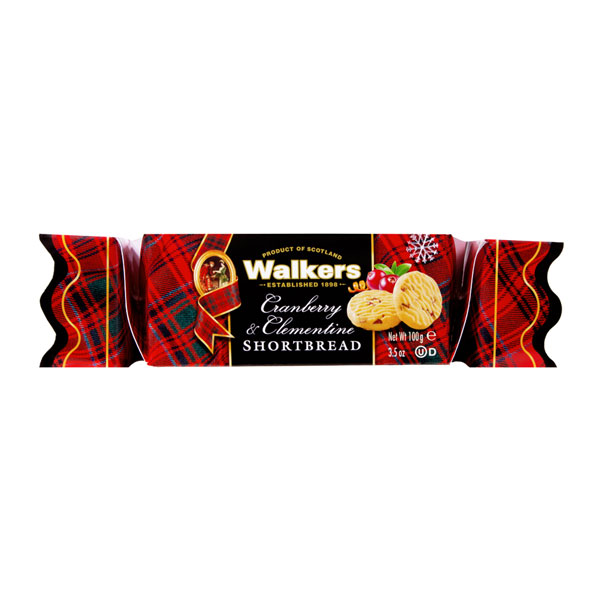 Walkers Cranberry & Clementine Shortbread Christmas Cracker Box - 3.5 oz.