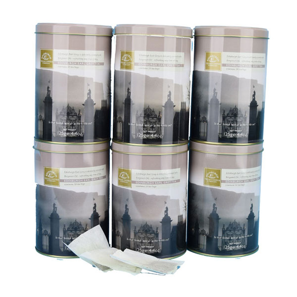 SALE - Six Edinburgh Earl Grey Tea Drums - total of 300 teabags