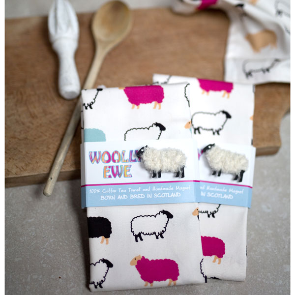 Woolly Ewe Teatowel and Woolly Ewe Magnet