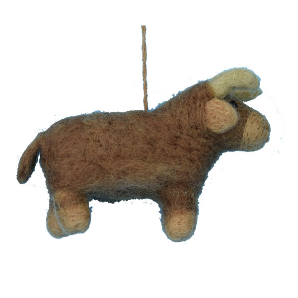 Felted Highland Cow Ornament