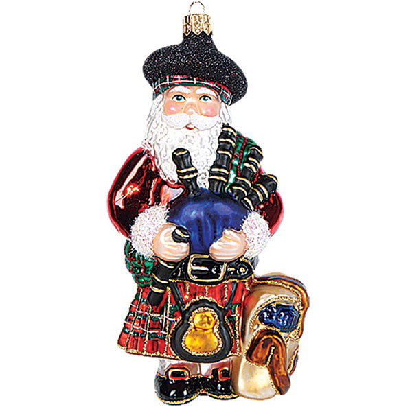 "SALE Scottish Santa Glass Ornament - 6"" tall"