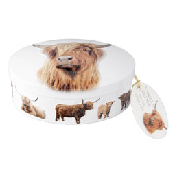 Highland Cow Oval Fudge Tin