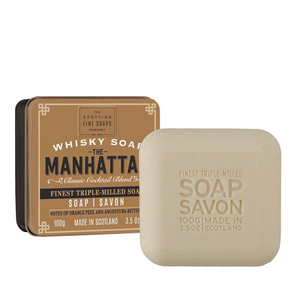 Manhattan Whisky Soap in a Tin
