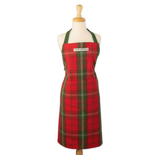 SALE Merry Christmas Vintage Plaid Apron