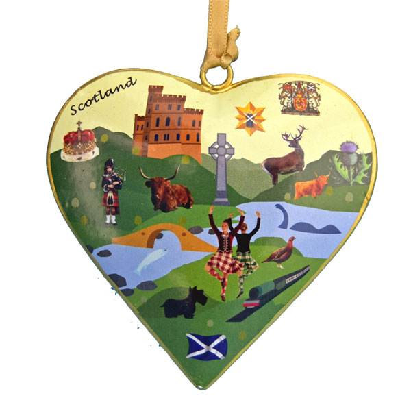 Iconic Scotland Metal Heart Ornament