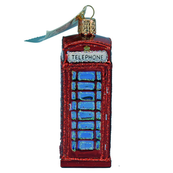 British Phone Booth Glass Ornament from Old World Christmas