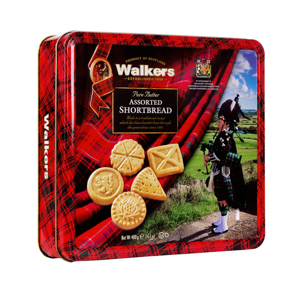 Walkers Piper Shortbread Tin with Scottish Shapes