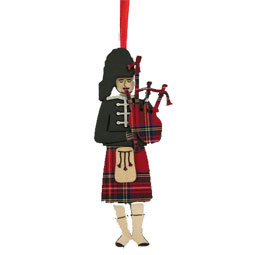 3D Piper with Tartan Bagpipes Ornament