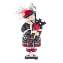 Glass Bagpiper with Red Feather Cockade