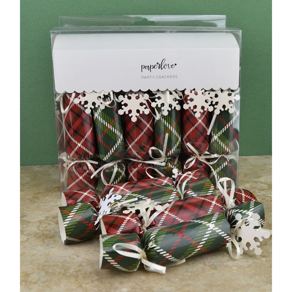 "SALE Plaid Christmas Crackers - Box of 12 - 6"" long"