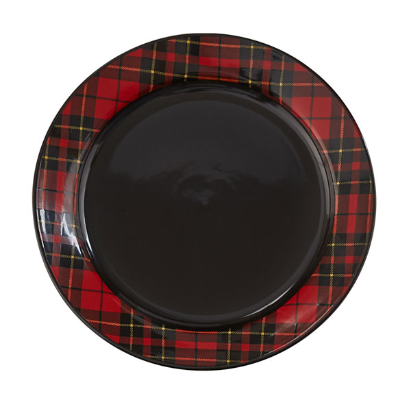 SALE Red Plaid Ceramic Dinner Plate