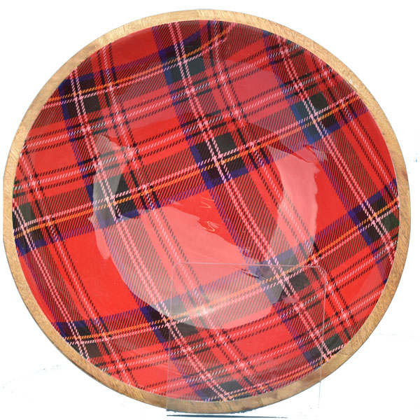 SALE Large Red Tartan Salad Bowl