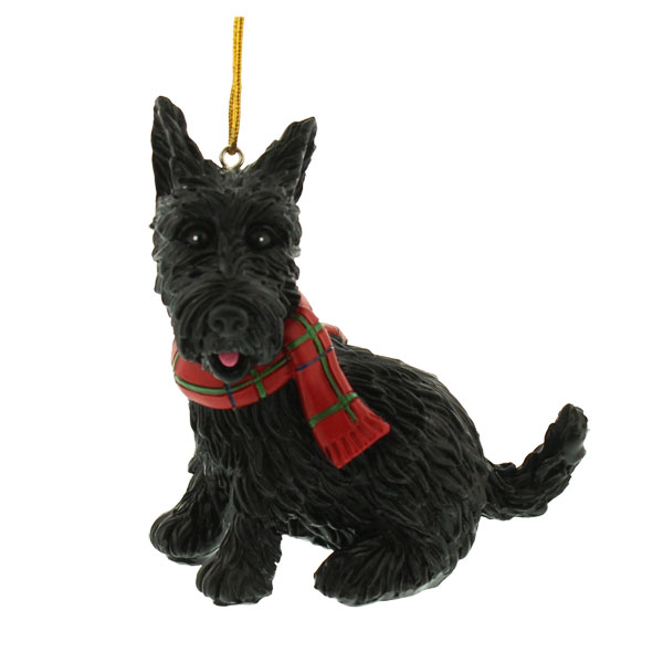 Scottie with Tartan Scarf Ornament