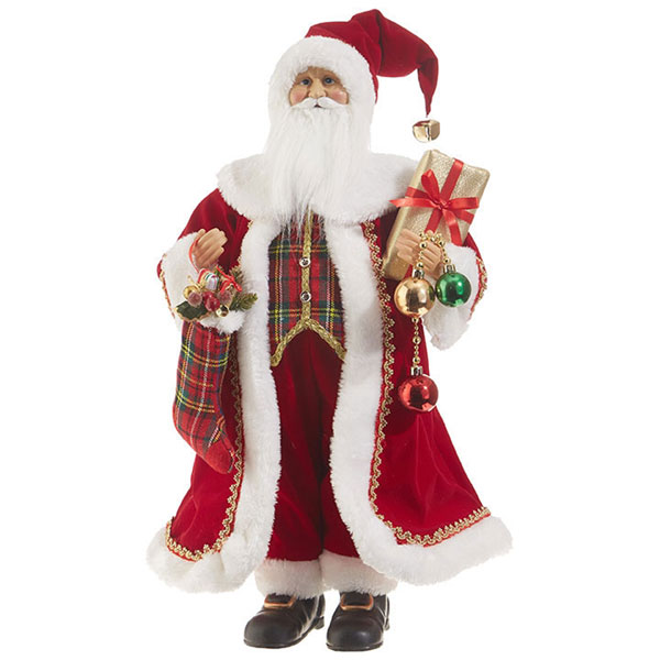 "SALE 23"" Tall Santa with Presents, Ornaments and Stocking"