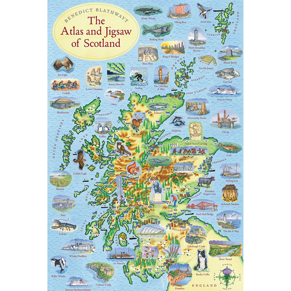 Scotland Map Puzzle And Atlas - 300 pieces