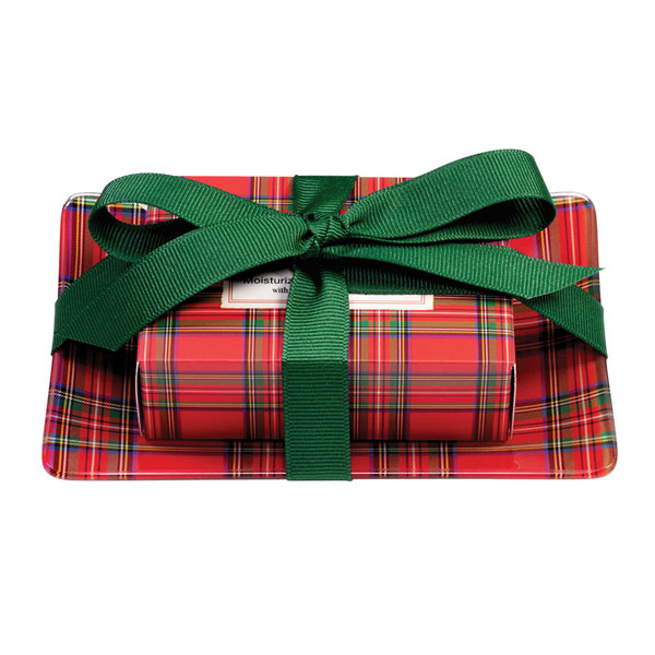 SALE Tartan Soap Dish Set