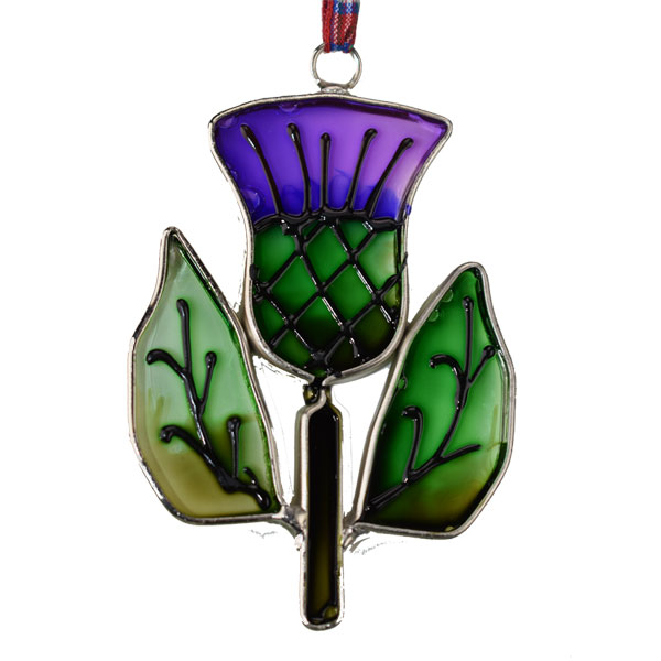 Stained Glass Thistle Ornament