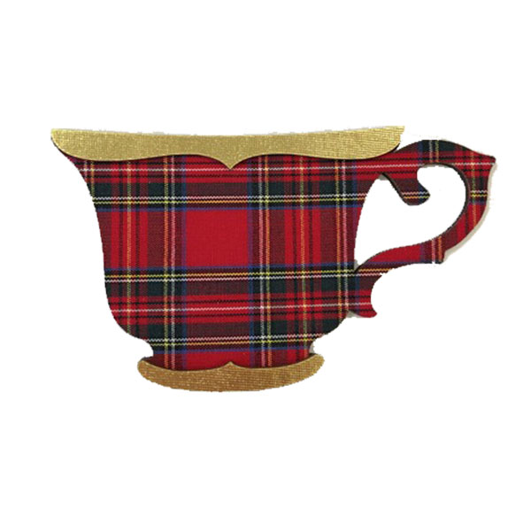 Tartan Teacup Ornament with Gold Trim