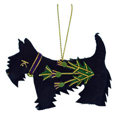 Scottie Ornament with Thistle Embroidery