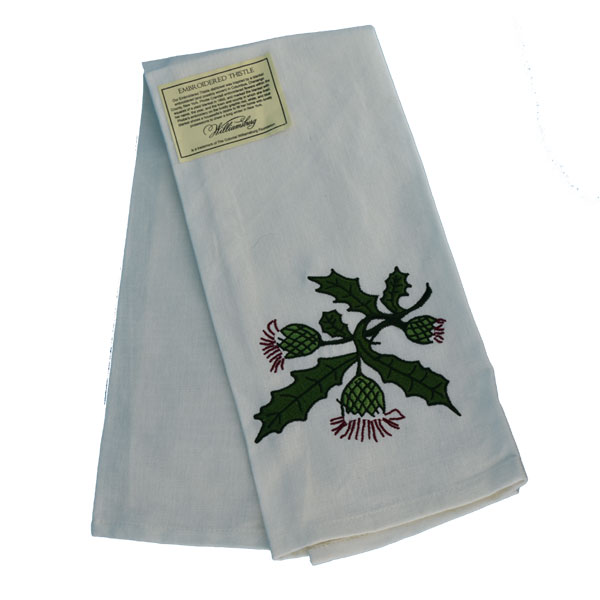 Embroidered Thistle Teatowel