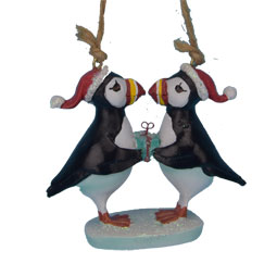 Two Puffins with Present Ornament