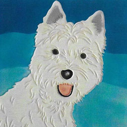 Westie 8 by 8 inch Ceramic Tile