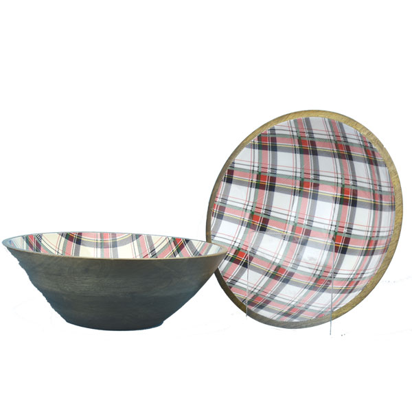 SALE Medium White Tartan Salad Bowl