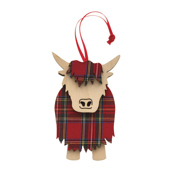 Tartan & Wood Highland Cow Ornament
