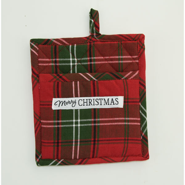 SALE Vintage Plaid Merry Christmas Potholder