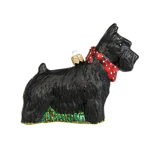 Fancy Scottie with Kerchief - Glass Ornament
